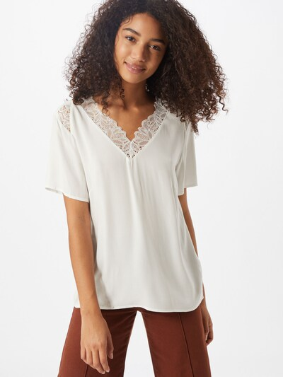 Tricou 'OBJBEA' OBJECT pe alb: Privire frontală