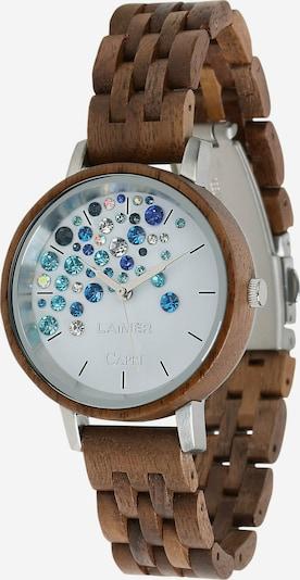LAiMER Armbanduhr Holzuhr 'Capri' Walnuss in blau / braun / weiß, Produktansicht