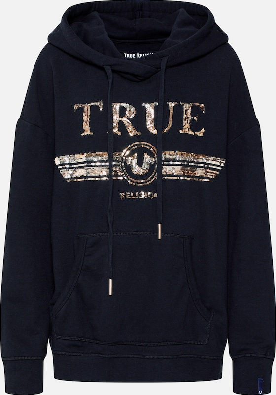True Religion Sweatshirt 'HODDY SEQUIN PAILETTE' in gold / schwarz, Produktansicht