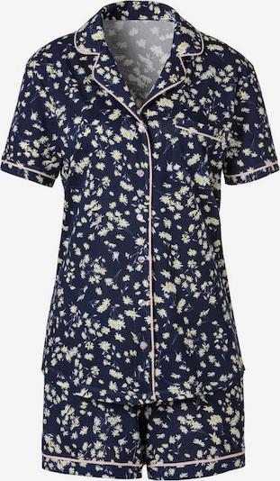 s.Oliver Korte pyjama in de kleur Nachtblauw / Geel / Wit, Productweergave