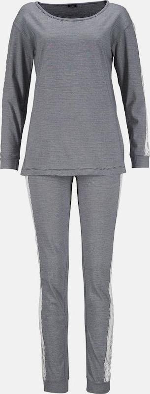 VIVANCE Pyjama mit seitlichen Streifen aus Spitze