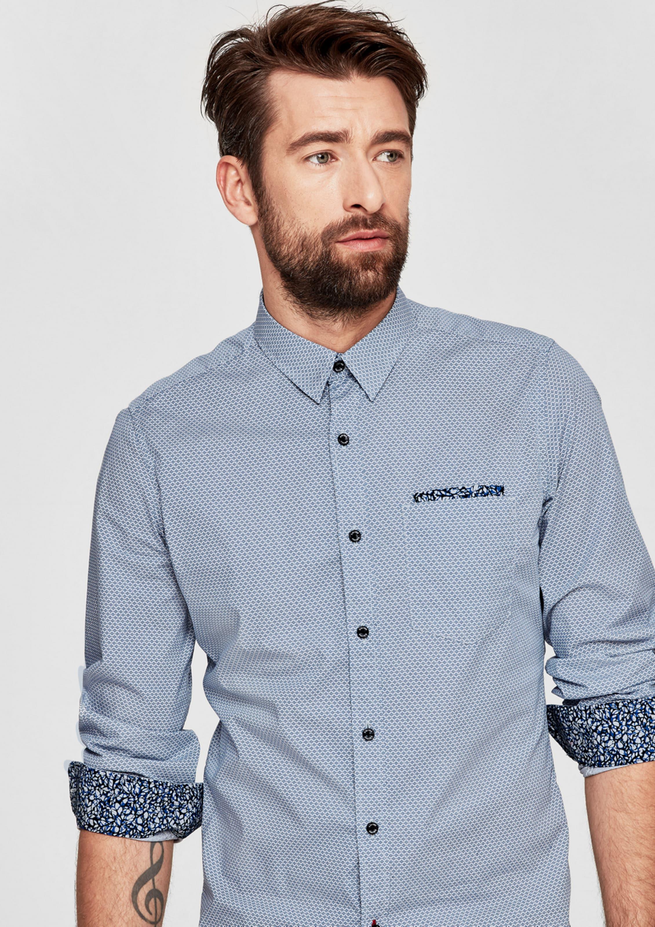 Liefern s.Oliver RED LABEL Slim: Hemd mit Allover-Muster Niedrige Versand Online MkEBDcj