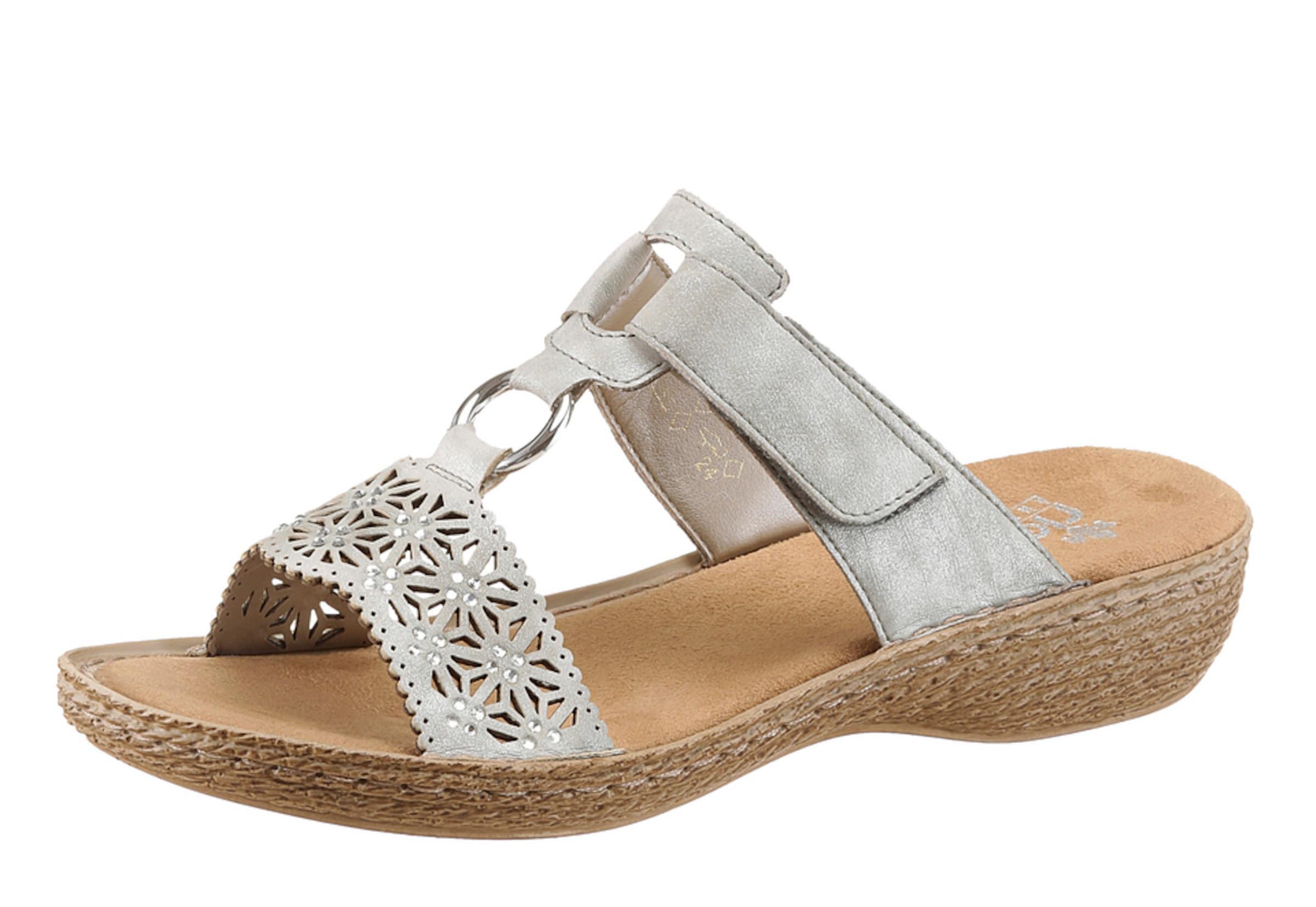 RIEKER Keilpantolette Verschleißfeste billige Schuhe Hohe Qualität