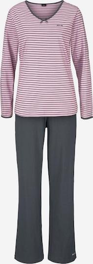 H.I.S Langer Pyjama in graphit / rosa, Produktansicht