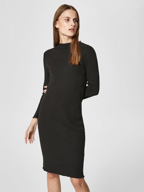 selected femme ripp kleid mit langen rmeln in schwarz. Black Bedroom Furniture Sets. Home Design Ideas