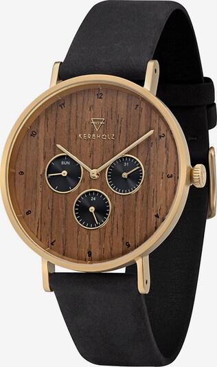 Kerbholz Uhr 'Caspar' in braun / gold / schwarz, Produktansicht