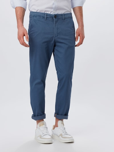 SELECTED HOMME Chino 'SLHSLIM-YARD BRKN TWILL NO-BELT PANTS W' in de kleur Donkerblauw, Modelweergave