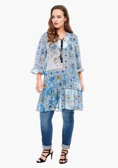 TRIANGLE Kleid in hellblau / dunkelblau / orange / offwhite, Modelansicht