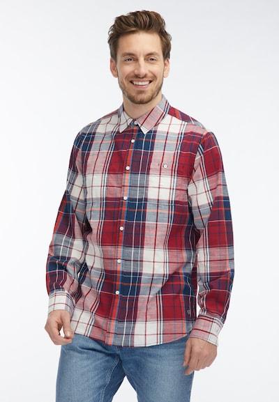 MUSTANG Hemd in blau / blutrot / weiß: Frontalansicht