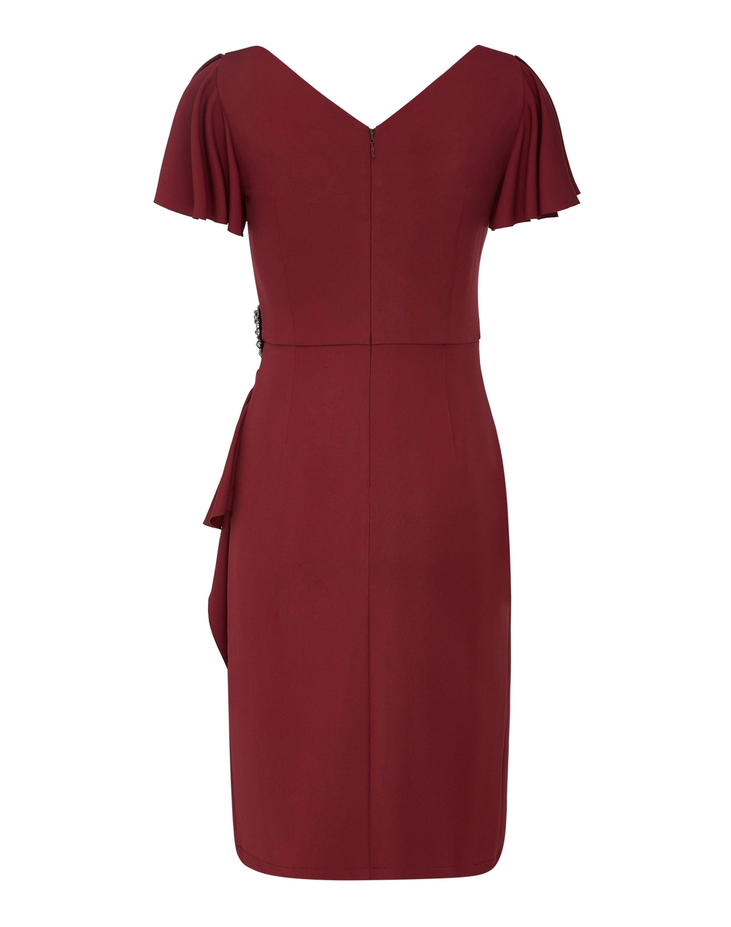 Burgunder Hinten Vorne Apart Und Mit V In ausschnitt Abendkleid R3LAj54