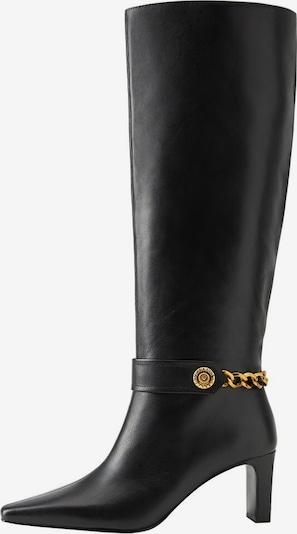 MANGO Leder-Stiefel in gold / schwarz, Produktansicht