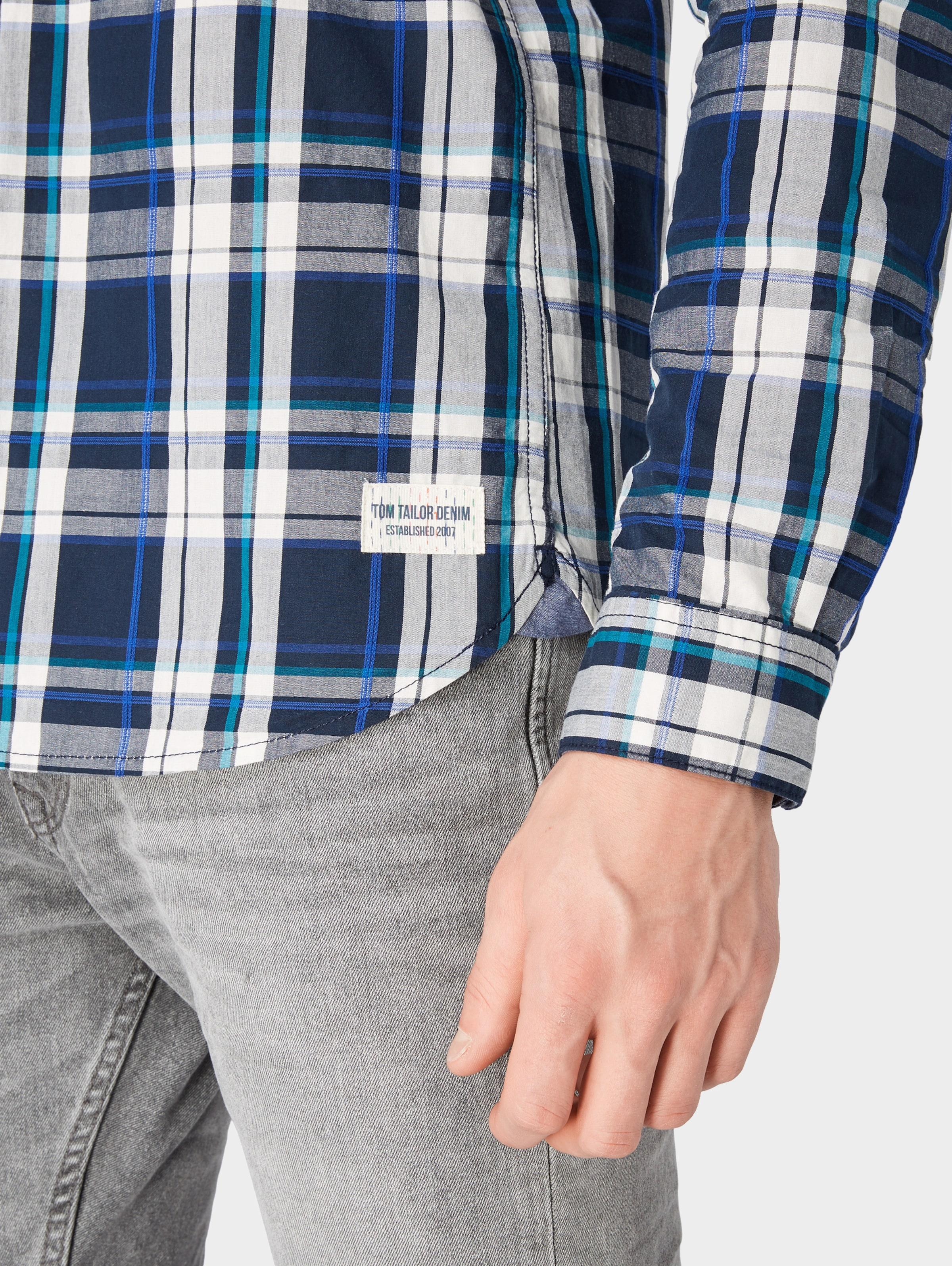 DunkelblauMischfarben Denim Tom Tailor Hemd In v8Nn0mw