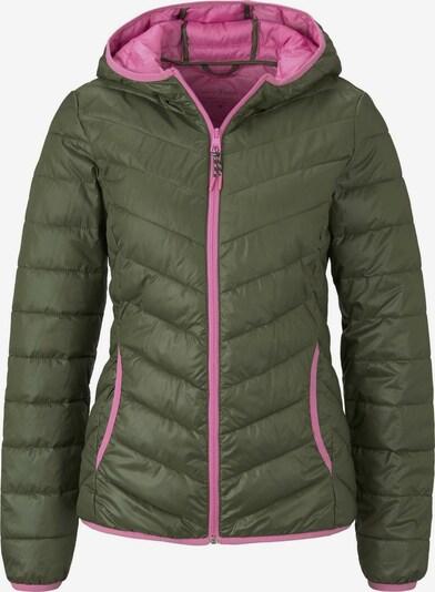 TOM TAILOR DENIM Jacken & Jackets Wattierte Steppjacke mit Kapuze in dunkelgrün / pink, Produktansicht