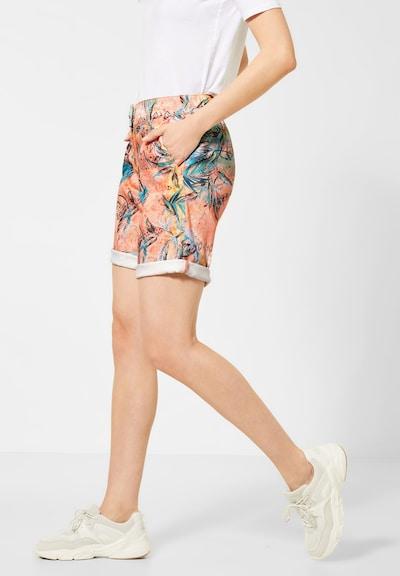 CECIL Shorts mit Tropical Print in türkis / orange: Frontalansicht