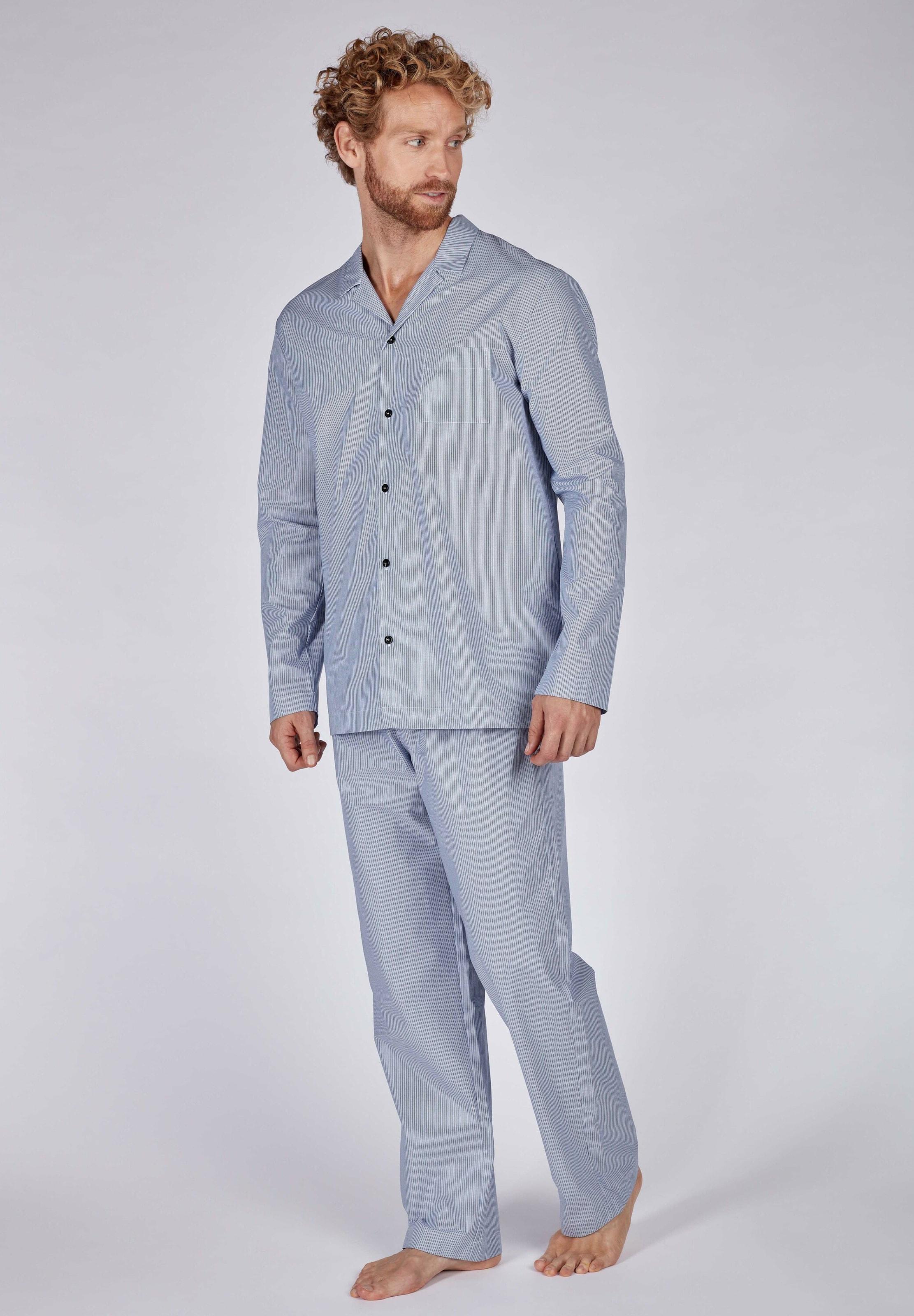 HUBER Pyjama Woven Tender mit Knopfleiste in blau Baumwolle 3207504