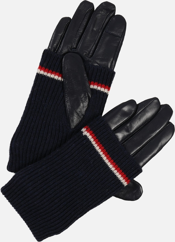 TOMMY HILFIGER Handschuhe 'LONG CUFF LEATHER GLOVES' in dunkelblau: Frontalansicht