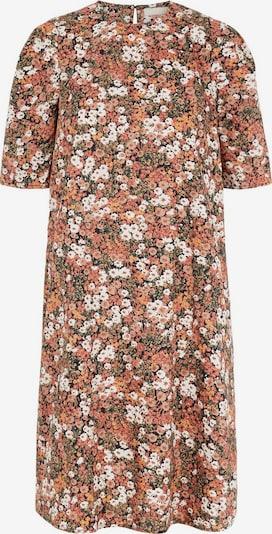 PIECES Print Kleid in orange / koralle / schwarz / weiß: Frontalansicht