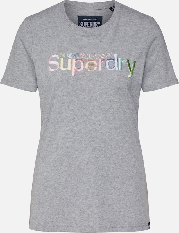 Superdry Shirt 'CLASSIC RAINBOW EMB ENTRY TEE' in grau, Produktansicht