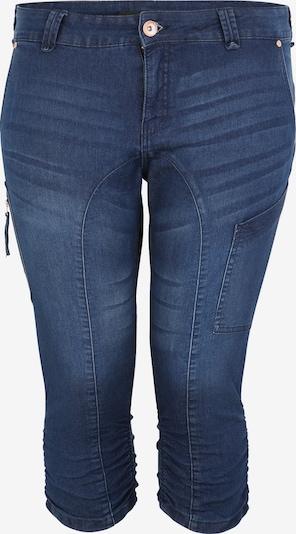 Pantaloni Zizzi pe denim albastru, Vizualizare produs