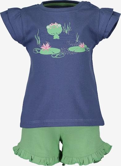 BLUE SEVEN Set T-Shirt+Shorts in blau / grün, Produktansicht