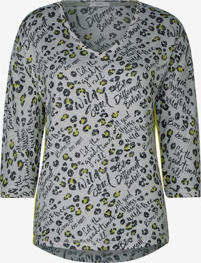 CECIL Shirt in de kleur Neongeel / Lichtgrijs / Zwart, Productweergave