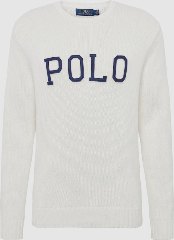 POLO RALPH LAUREN Pullover 'LOGO CN-LONG SLEEVE-SWEATER' in nachtblau   weiß  Freizeit, schlank, schlank