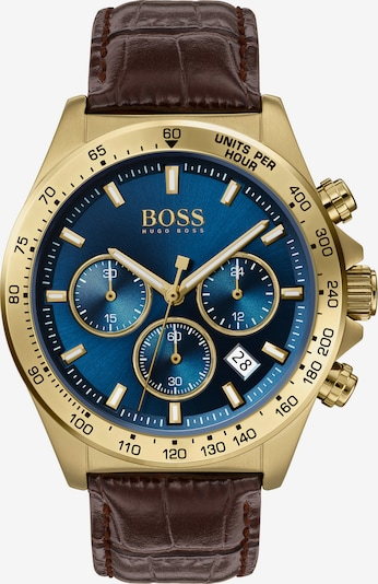 BOSS Casual Uhr in himmelblau / kastanienbraun / gold, Produktansicht