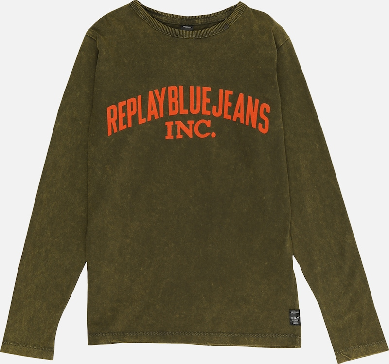 REPLAY Shirt in dunkelgrün / orange: Frontalansicht
