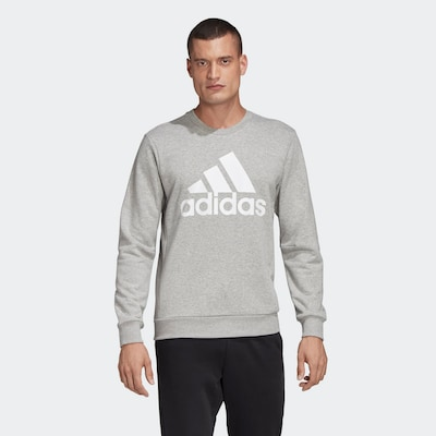ADIDAS PERFORMANCE Sportsweatshirt in graumeliert / weiß: Frontalansicht