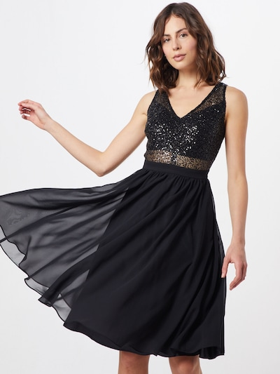 SWING Koktejlové šaty - černá / stříbrná, Model/ka