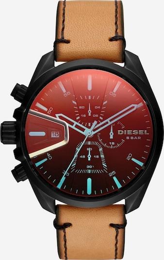 DIESEL Chronograph in cognac / anthrazit / feuerrot: Frontalansicht