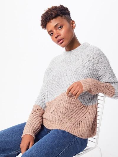 OBJECT Pullover in hellbraun / hellgrau, Modelansicht