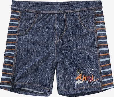 PLAYSHOES Badehose 'AHOI' in blue denim / hellblau / orange, Produktansicht
