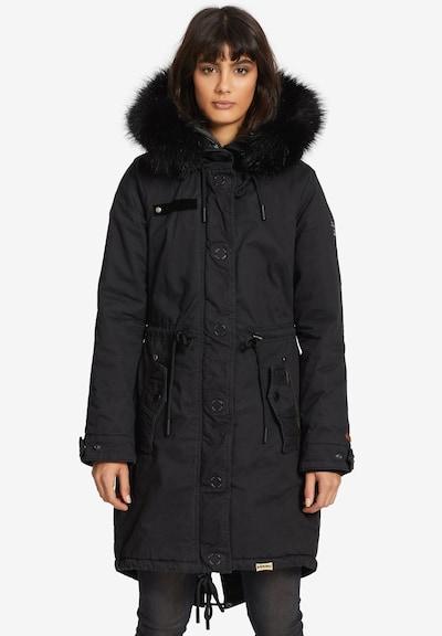 khujo Wintermantel ' ADELISA' in de kleur Zwart, Modelweergave