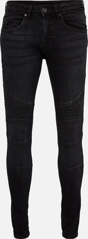 Urban Classics Slim Fit Biker Jeans in black denim, Produktansicht