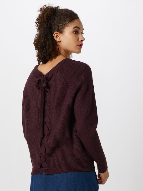 VILA Pullover 'VISIA KNIT LACED UP BACK L/S TOP' in bordeaux: Rückansicht