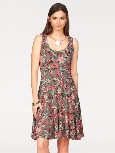LAURA SCOTT Jerseykleid in khaki / himbeer / altrosa / rot, Modelansicht