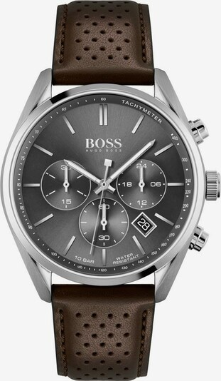 BOSS Uhr 'CHAMPION' in dunkelbraun / silber, Produktansicht
