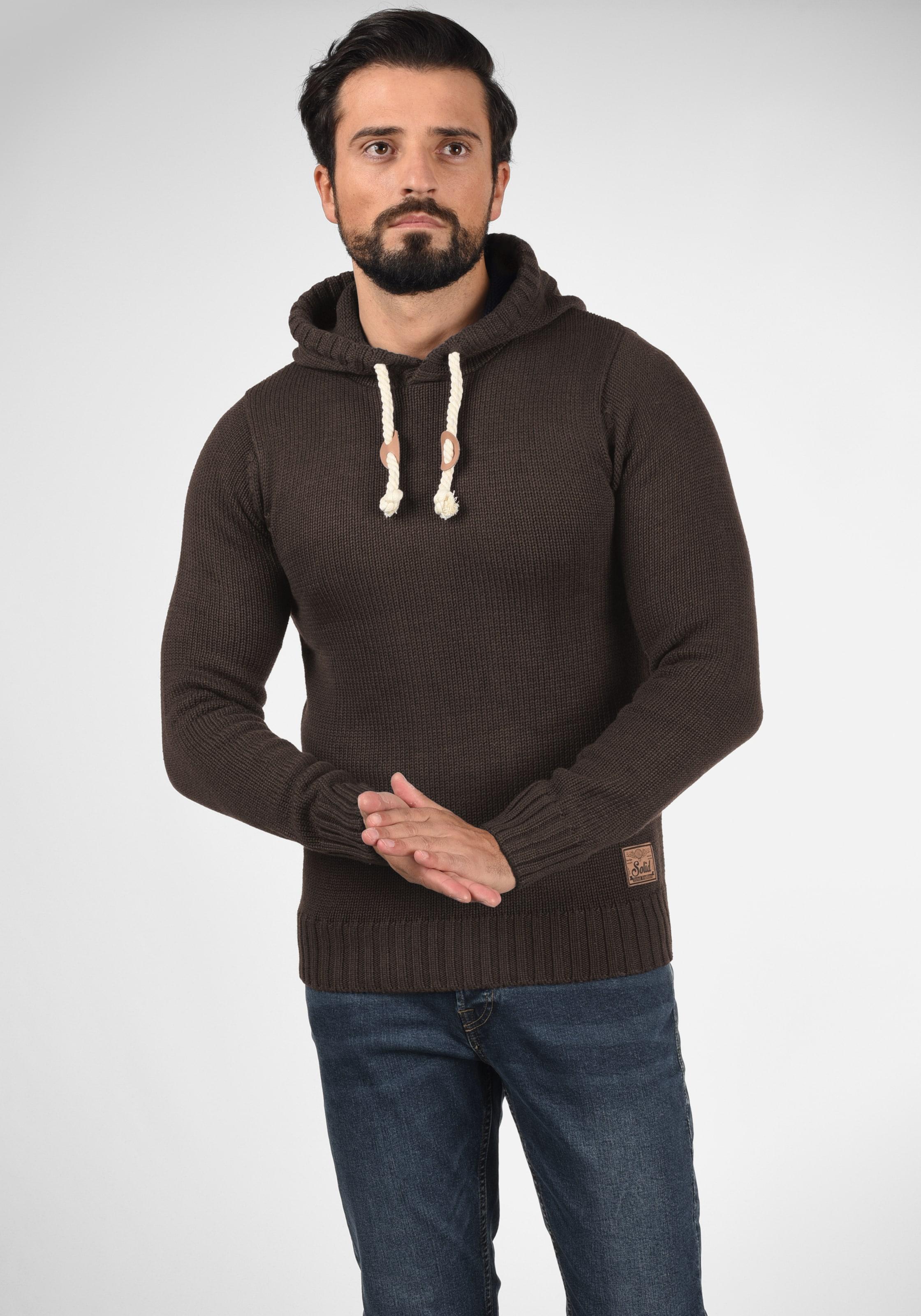 !Solid Pullover 'Pitu' in kastanienbraun Gerader Saum ART120140-006