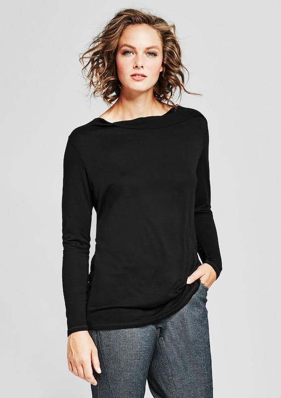 TRIANGLE Viskose-Shirt mit Inside-Out-Blende