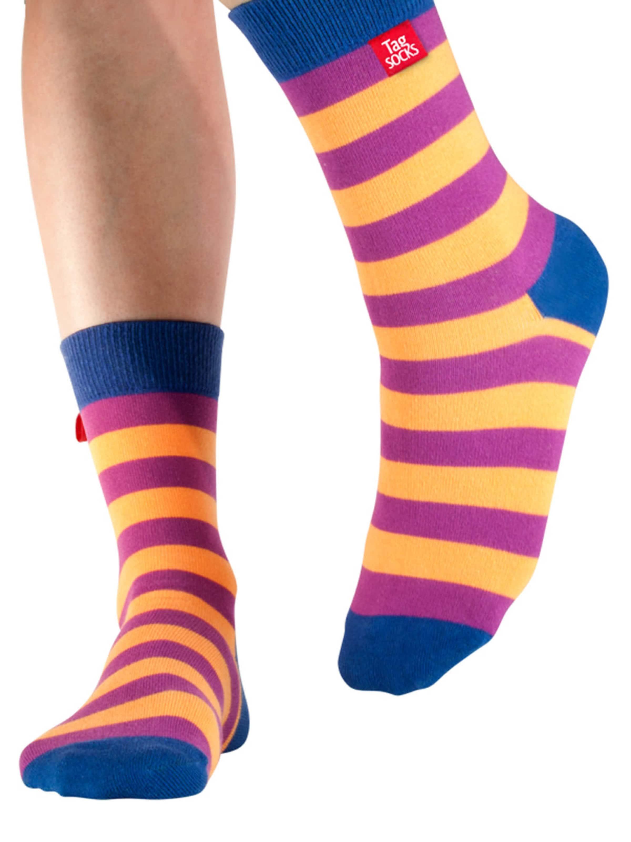 Tag SOCKS Socken 'Stars & Stripes' in navy / lila / orange Gestreift 13194