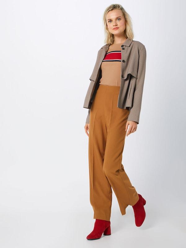 shirt Marron Look Placement' New 'stripe En T Fc31TlKJ