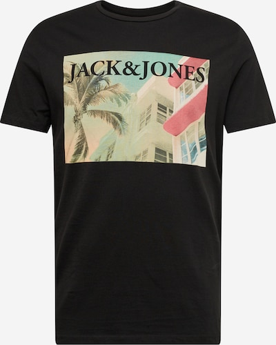fekete JACK & JONES Póló 'Jorpalmers Tee': Elölnézet
