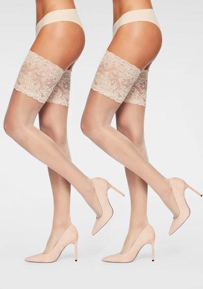 DIE STRUMPFMACHER Halterlose Strümpfe mit floraler Spitze Doppelpack in nude / puder: Frontalansicht