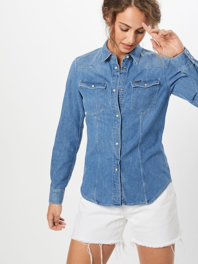G-Star RAW Blouse '3301' in de kleur Blauw denim, Modelweergave