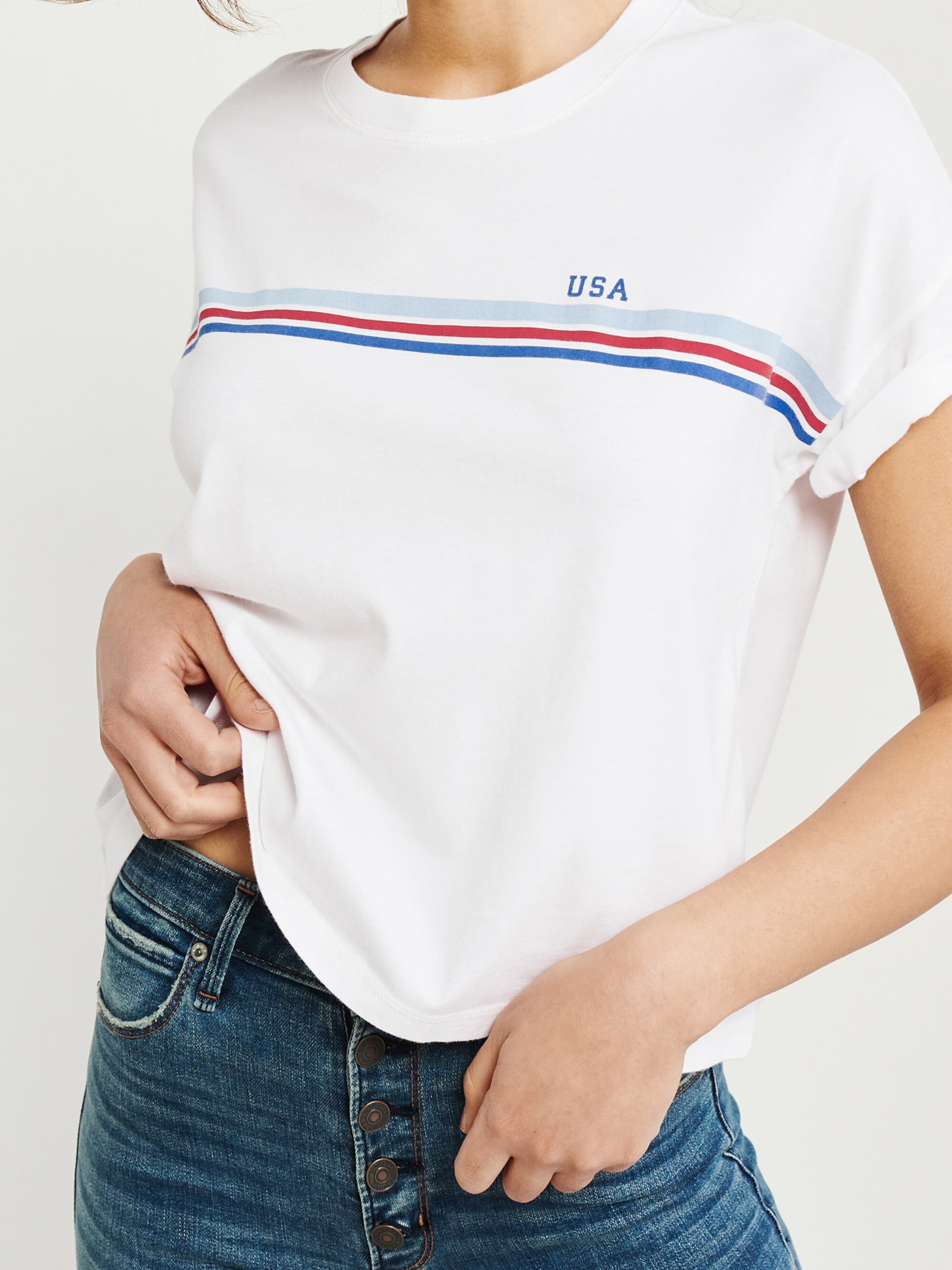 In Fitch BlauRot Abercrombieamp; Shirt 'boxy Americana' Weiß bfY76gy
