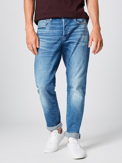 G-Star RAW Jeans '3301 Tapered' in de kleur Blauw denim, Modelweergave