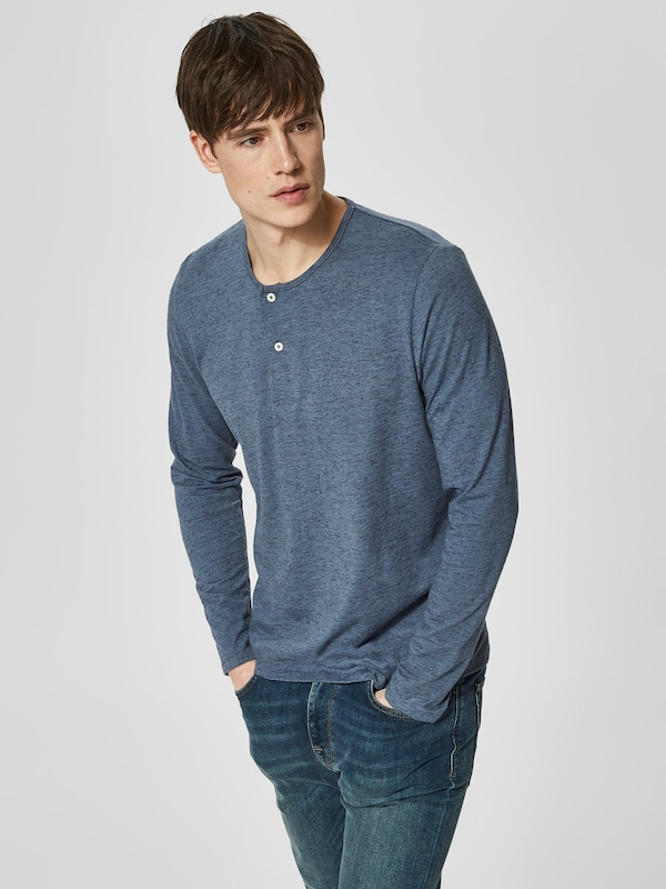 SELECTED HOMME Split Neck T-Shirt mit langen Ärmeln