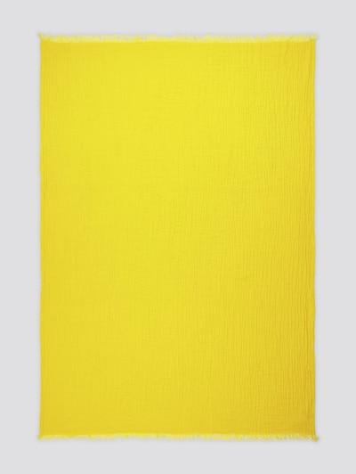 TOM TAILOR Home Wende-Decke mit gefranster Saumkante in gelb, Produktansicht
