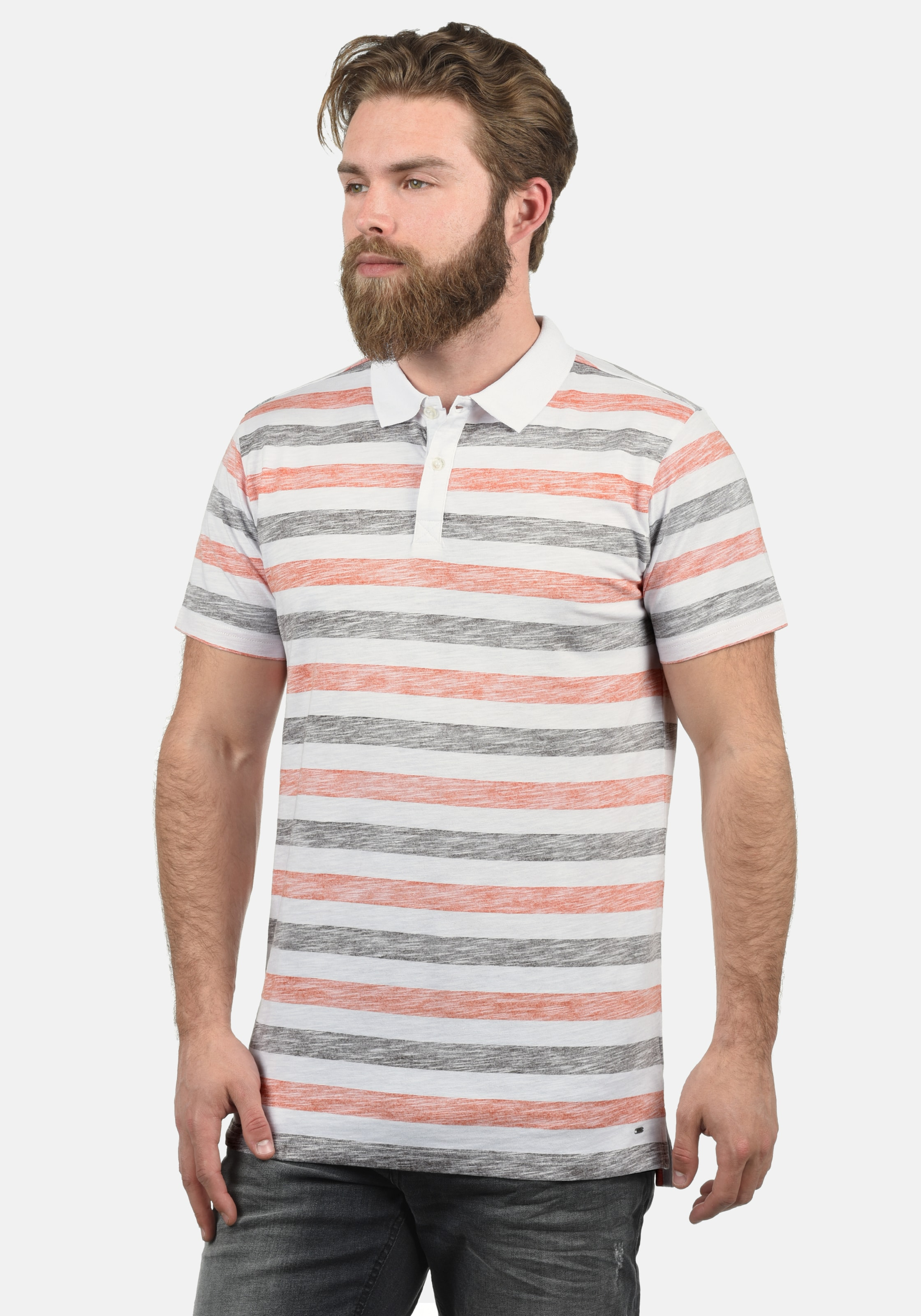 !Solid Poloshirt 'Teto' in grau / orange / weiß Polokragen ART113860-004